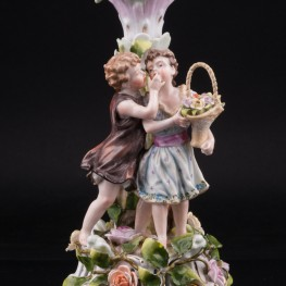 Дети с корзиной цветов, подсвечник, Von Schierholz, Германия, пер. пол. 20 в